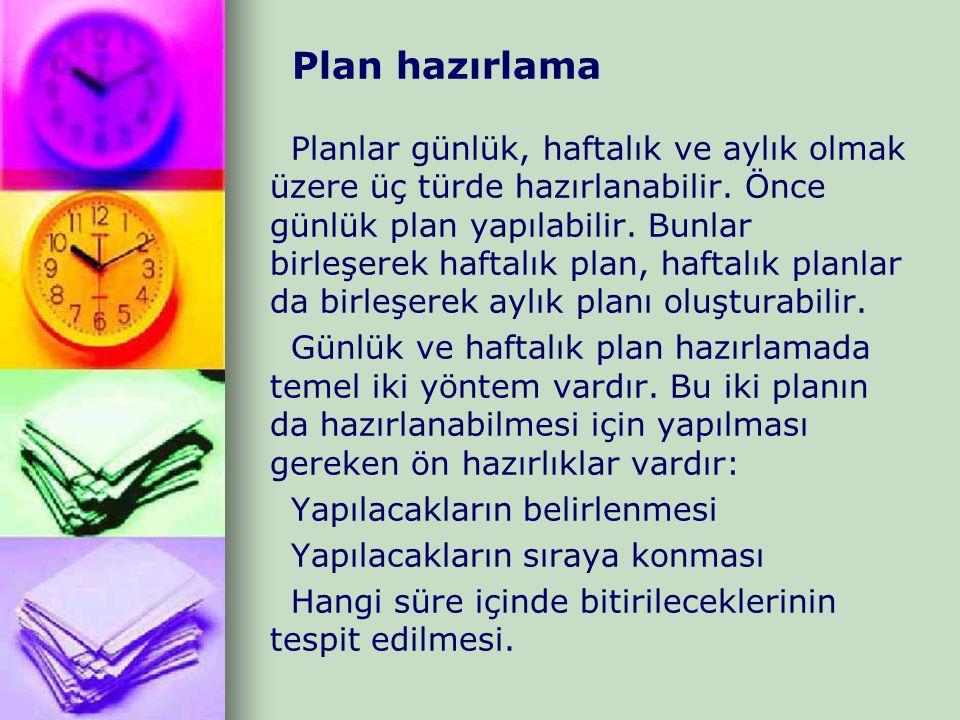 Plan hazırlama Planlar günlük, haftalık ve aylık olmak üzere üç türde hazırlanabilir. Önce günlük plan yapılabilir. Bunlar birleşerek haftalık plan, h