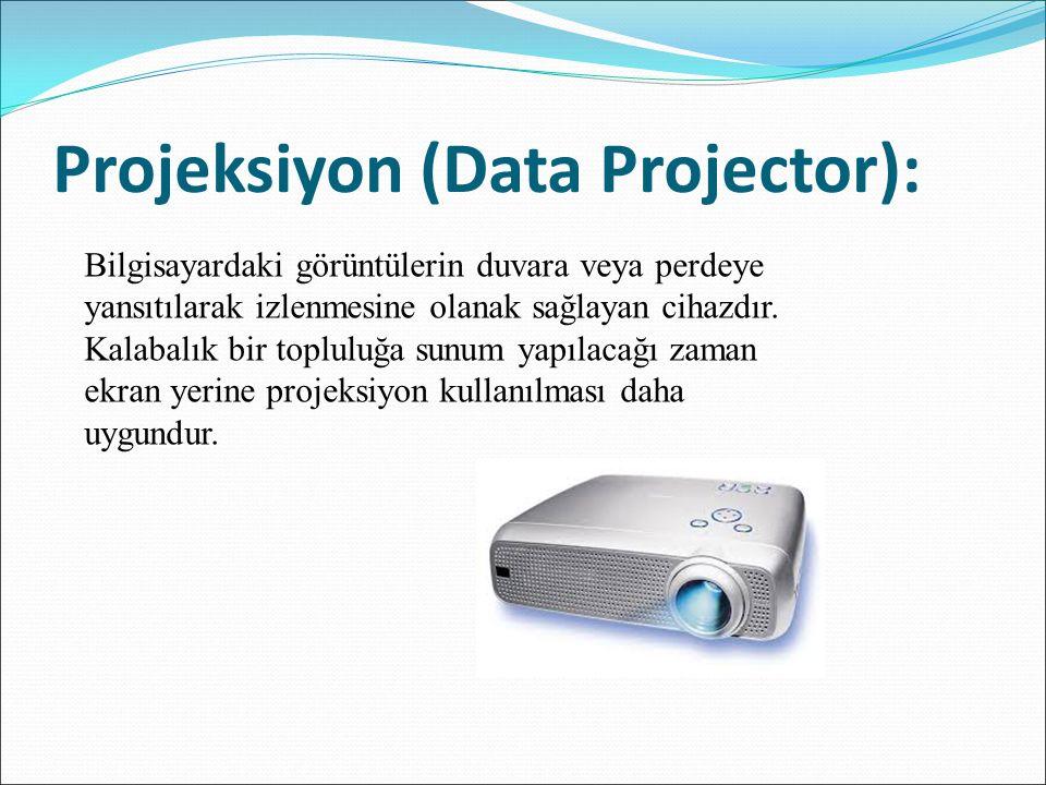 Projeksiyon (Data Projector): Bilgisayardaki görüntülerin duvara veya perdeye yansıtılarak izlenmesine olanak sağlayan cihazdır. Kalabalık bir toplulu