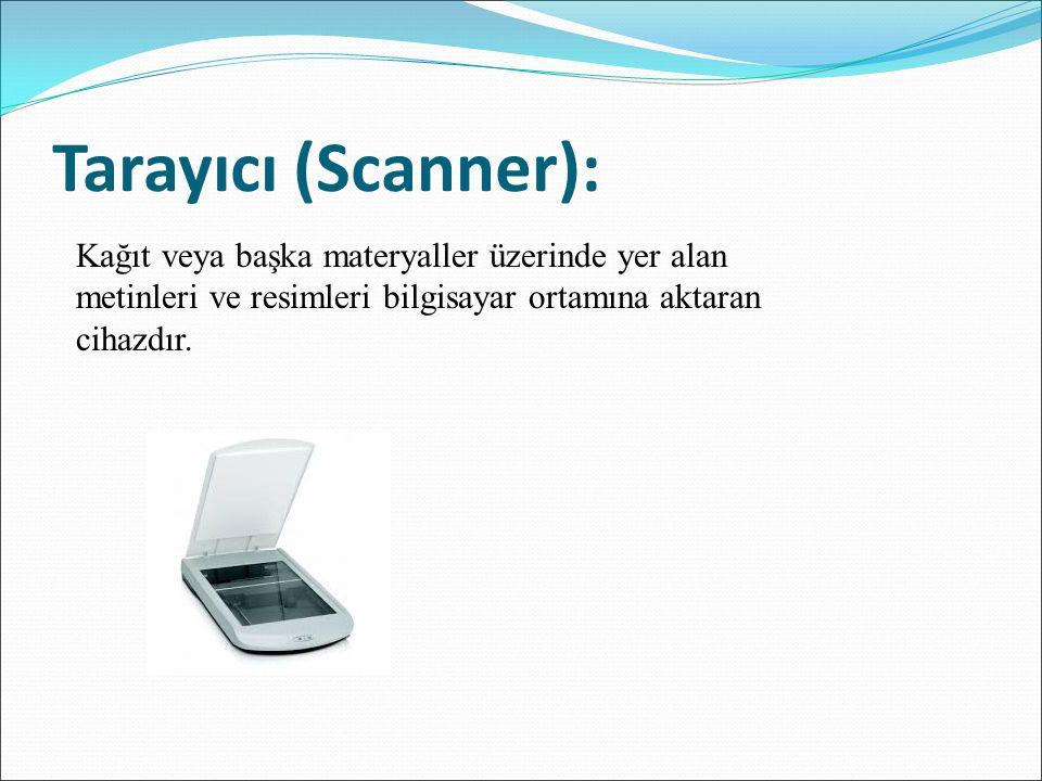 Hoparlör (Speakers): Bilgisayarda veya bir kayıt ortamında bulunan seslerikullanıcıların duymasını sağlayan cihazlardır.