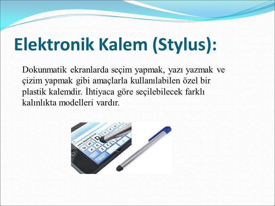 Elektronik Kalem (Stylus): Dokunmatik ekranlarda seçim yapmak, yazı yazmak ve çizim yapmak gibi amaçlarla kullanılabilen özel bir plastik kalemdir. İh