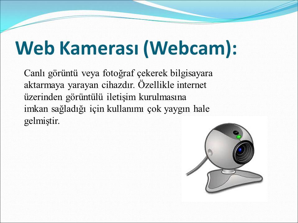 Web Kamerası (Webcam): Canlı görüntü veya fotoğraf çekerek bilgisayara aktarmaya yarayan cihazdır. Özellikle internet üzerinden görüntülü iletişim kur