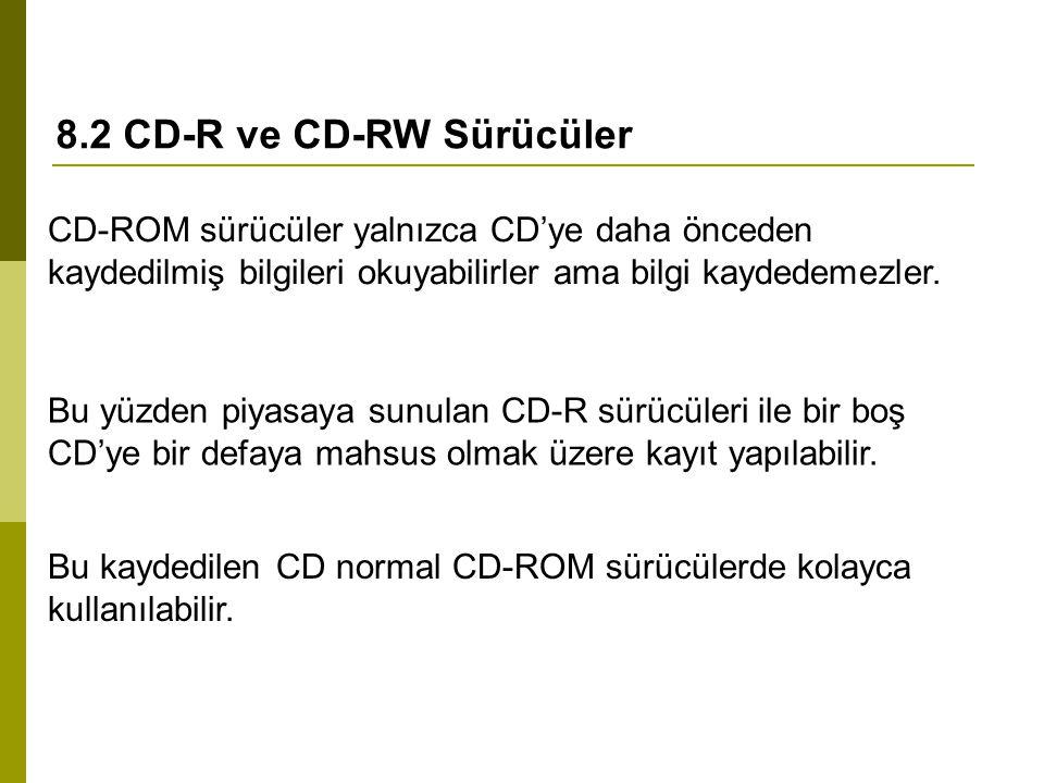 8.2 CD-R ve CD-RW Sürücüler CD-ROM sürücüler yalnızca CD'ye daha önceden kaydedilmiş bilgileri okuyabilirler ama bilgi kaydedemezler. Bu yüzden piyasa