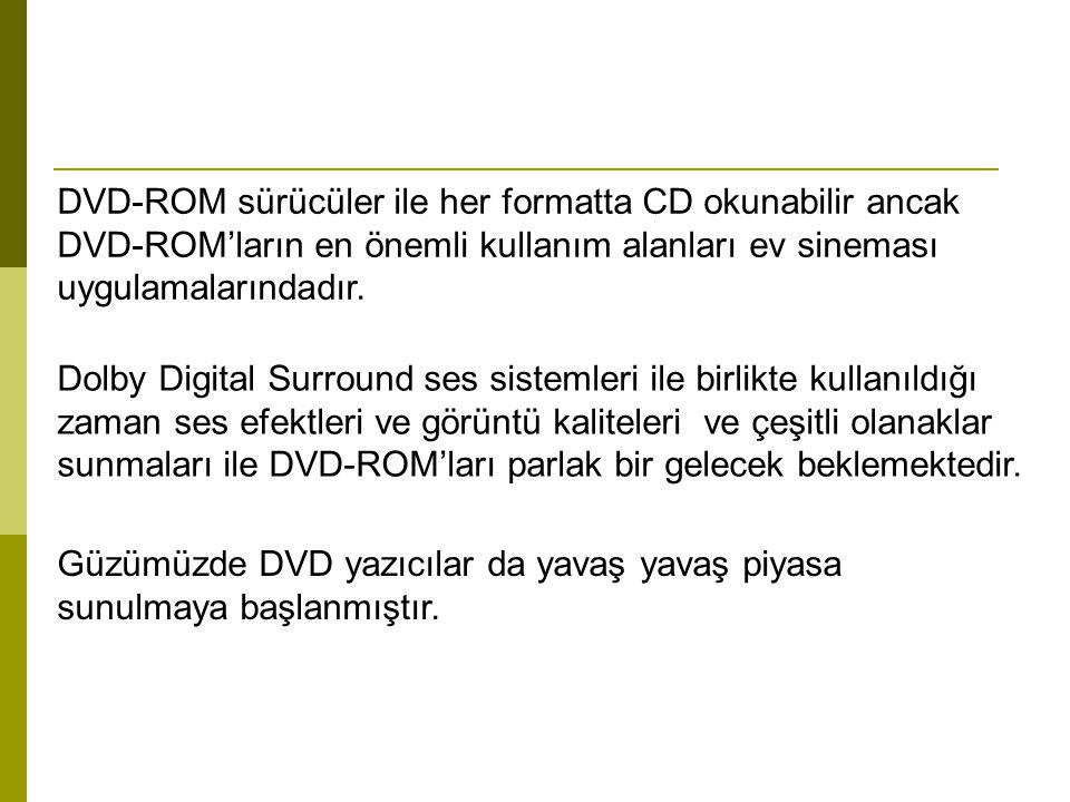 DVD-ROM sürücüler ile her formatta CD okunabilir ancak DVD-ROM'ların en önemli kullanım alanları ev sineması uygulamalarındadır. Dolby Digital Surroun