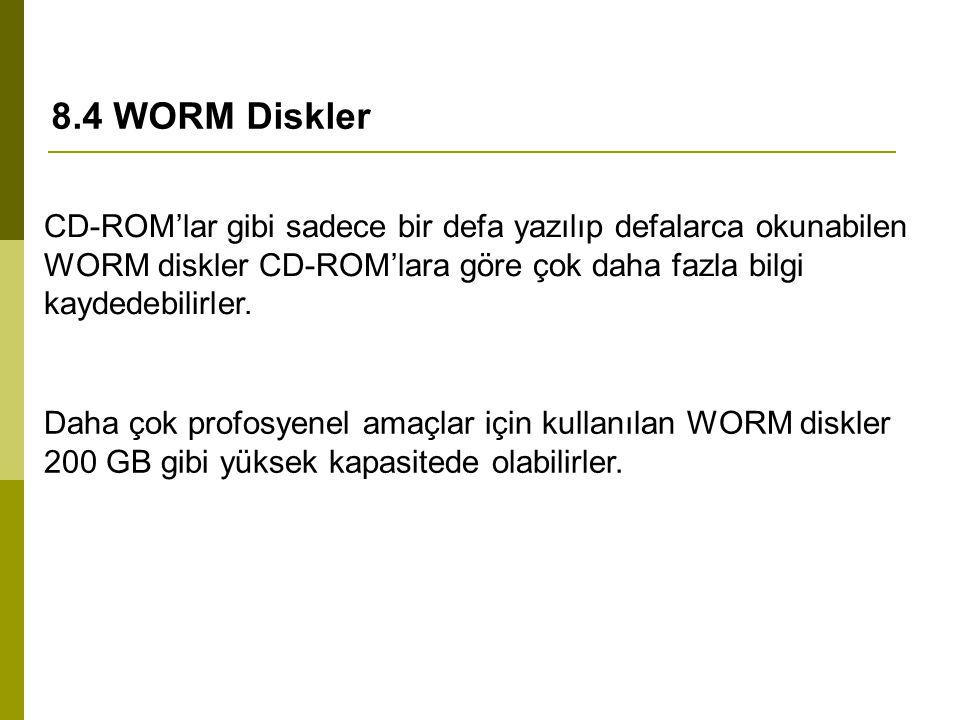 8.4 WORM Diskler CD-ROM'lar gibi sadece bir defa yazılıp defalarca okunabilen WORM diskler CD-ROM'lara göre çok daha fazla bilgi kaydedebilirler. Daha