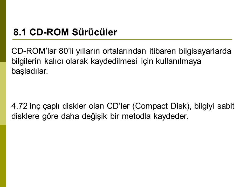 8.1 CD-ROM Sürücüler CD-ROM'lar 80'li yılların ortalarından itibaren bilgisayarlarda bilgilerin kalıcı olarak kaydedilmesi için kullanılmaya başladılar.