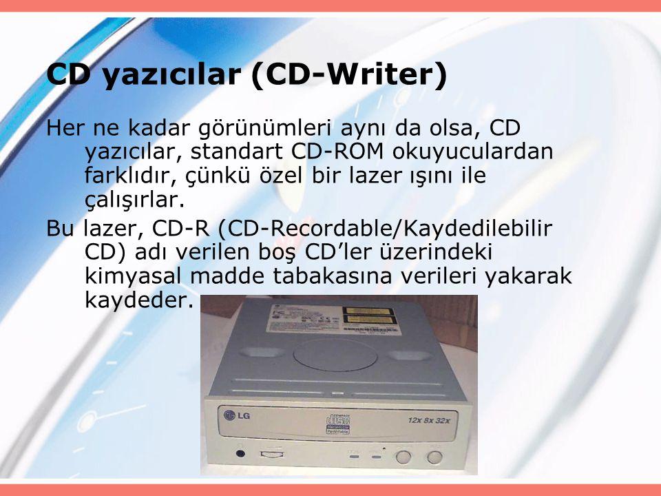 CD yazıcılar (CD-Writer) Her ne kadar görünümleri aynı da olsa, CD yazıcılar, standart CD-ROM okuyuculardan farklıdır, çünkü özel bir lazer ışını ile çalışırlar.