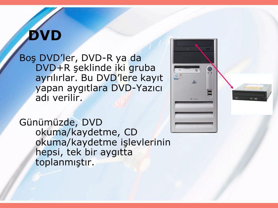 Boş DVD'ler, DVD-R ya da DVD+R şeklinde iki gruba ayrılırlar.