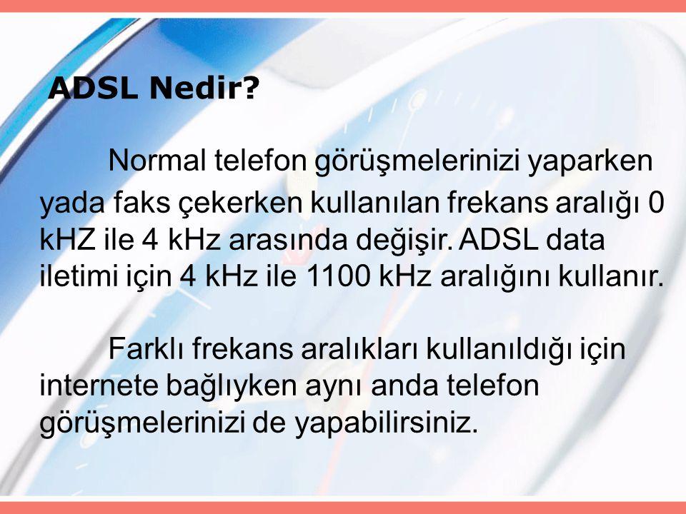 ADSL Nedir? Normal telefon görüşmelerinizi yaparken yada faks çekerken kullanılan frekans aralığı 0 kHZ ile 4 kHz arasında değişir. ADSL data iletimi
