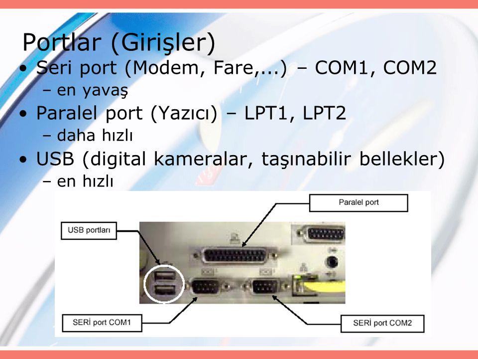 Portlar (Girişler) Seri port (Modem, Fare,...) – COM1, COM2 –en yavaş Paralel port (Yazıcı) – LPT1, LPT2 –daha hızlı USB (digital kameralar, taşınabilir bellekler) –en hızlı