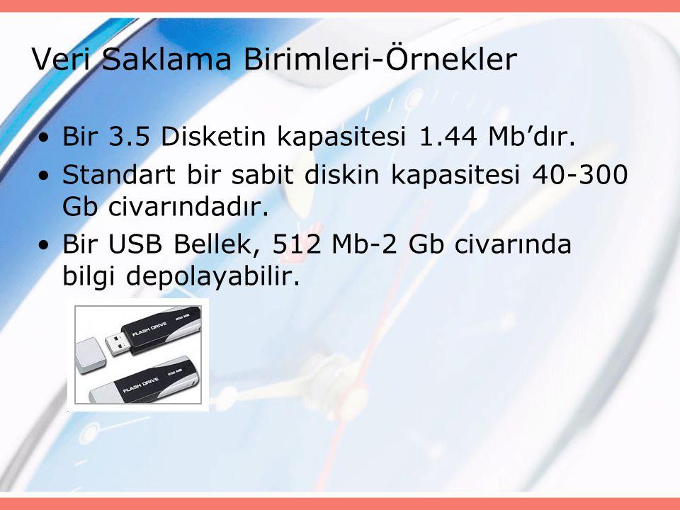 Bir 3.5 Disketin kapasitesi 1.44 Mb'dır. Standart bir sabit diskin kapasitesi 40-300 Gb civarındadır. Bir USB Bellek, 512 Mb-2 Gb civarında bilgi depo