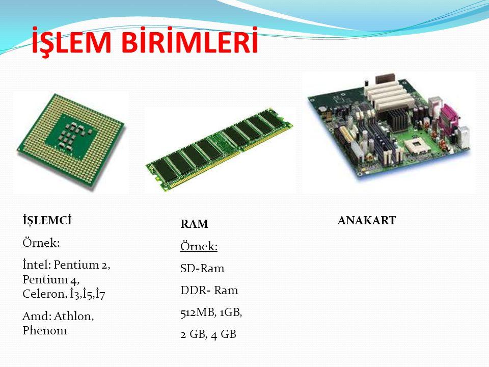 İŞLEMCİ Örnek: İntel: Pentium 2, Pentium 4, Celeron, İ3,İ5,İ7 Amd: Athlon, Phenom ANAKART RAM Örnek: SD-Ram DDR- Ram 512MB, 1GB, 2 GB, 4 GB