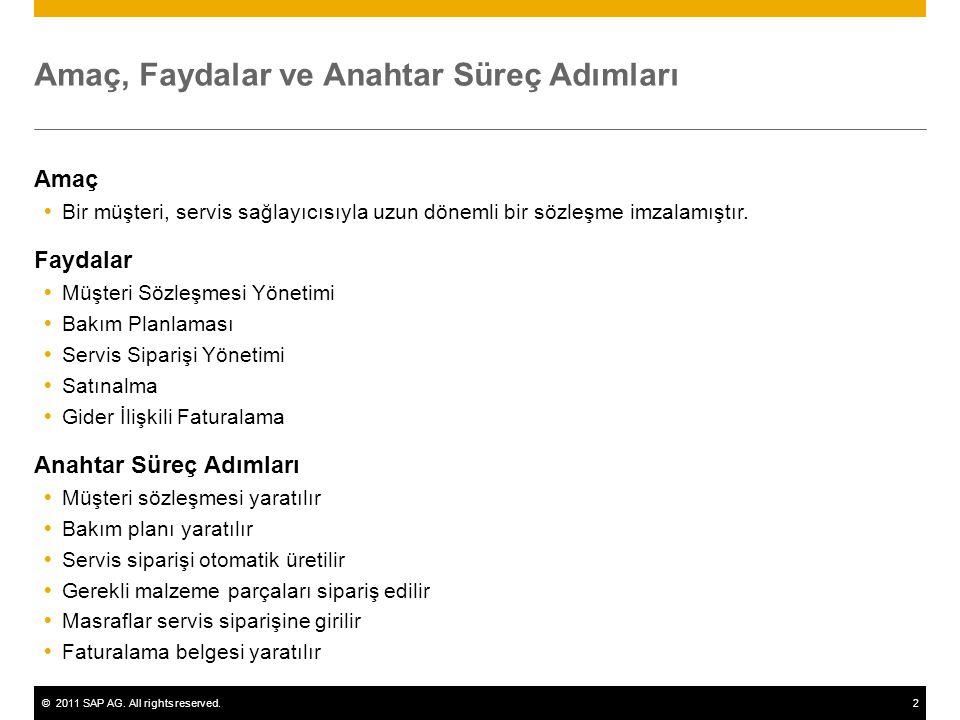 ©2011 SAP AG. All rights reserved.2 Amaç, Faydalar ve Anahtar Süreç Adımları Amaç  Bir müşteri, servis sağlayıcısıyla uzun dönemli bir sözleşme imzal