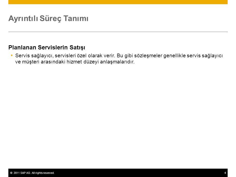 ©2011 SAP AG. All rights reserved.4 Ayrıntılı Süreç Tanımı Planlanan Servislerin Satışı  Servis sağlayıcı, servisleri özel olarak verir. Bu gibi sözl