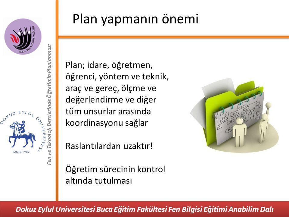 Fen ve Teknoloji Derslerinde Öğretimin Planlanması Plan yapmanın önemi Plan; idare, öğretmen, öğrenci, yöntem ve teknik, araç ve gereç, ölçme ve değer