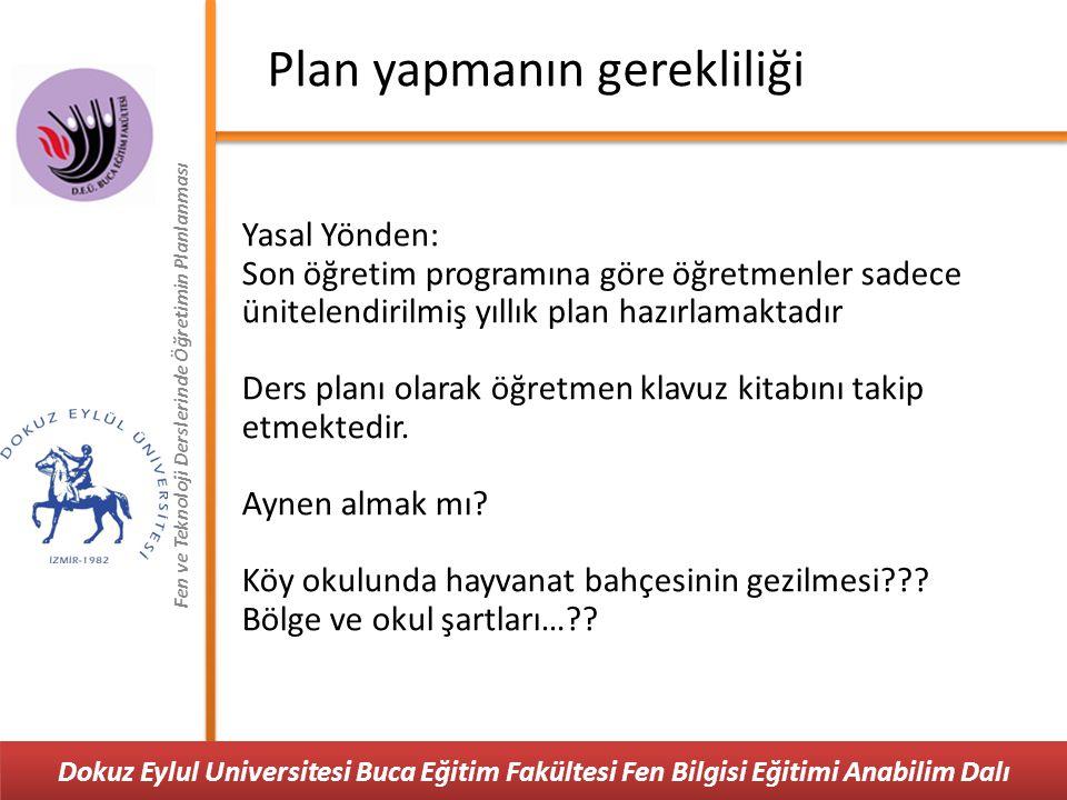 Fen ve Teknoloji Derslerinde Öğretimin Planlanması Plan türleri 2003-2551 nolu genelge Yıllık plan ve ders planı Yapılandırmacı ve çoklu zeka kuramına göre derslerini planlaması gerekmektedir.