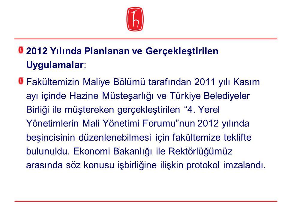 2012 Yılında Planlanan ve Gerçekleştirilen Uygulamalar: Fakültemizin Maliye Bölümü tarafından 2011 yılı Kasım ayı içinde Hazine Müsteşarlığı ve Türkiy