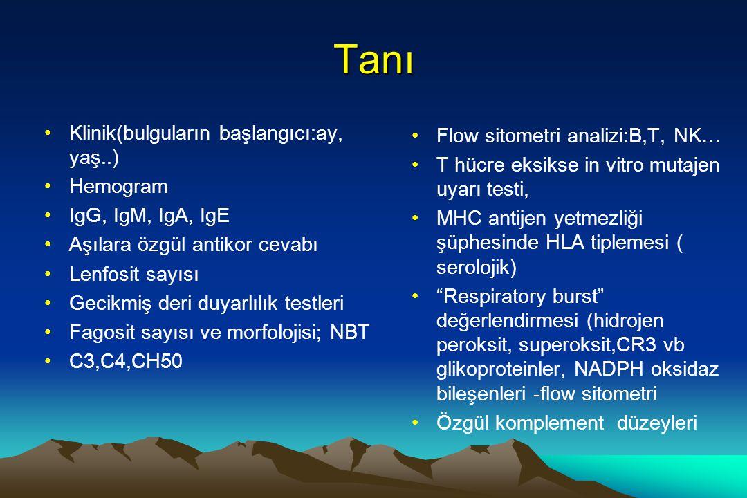 Tanı Klinik(bulguların başlangıcı:ay, yaş..) Hemogram IgG, IgM, IgA, IgE Aşılara özgül antikor cevabı Lenfosit sayısı Gecikmiş deri duyarlılık testler