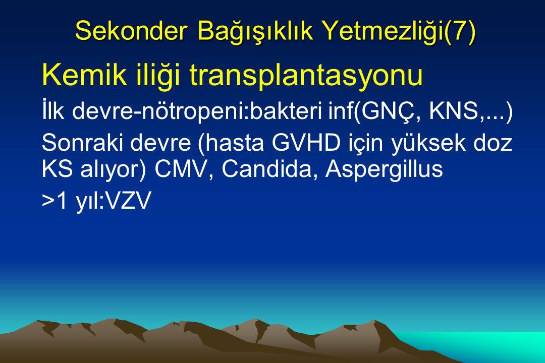 Sekonder Bağışıklık Yetmezliği(7) Kemik iliği transplantasyonu İlk devre-nötropeni:bakteri inf(GNÇ, KNS,...) Sonraki devre (hasta GVHD için yüksek doz