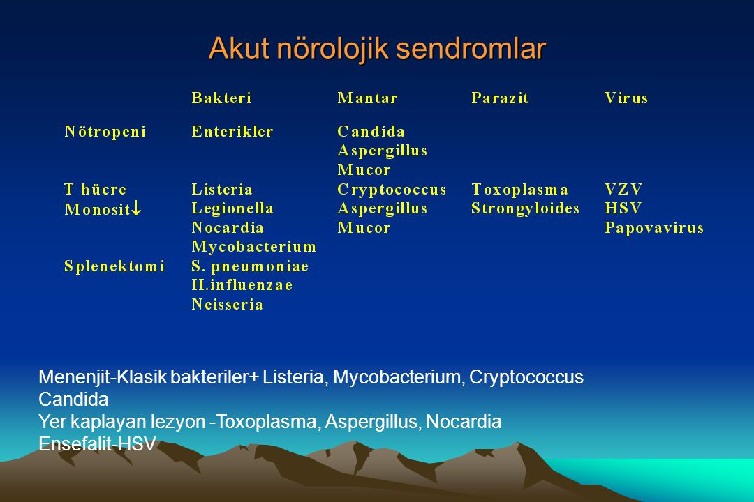 Akut nörolojik sendromlar Menenjit-Klasik bakteriler+ Listeria, Mycobacterium, Cryptococcus Candida Yer kaplayan lezyon -Toxoplasma, Aspergillus, Noca