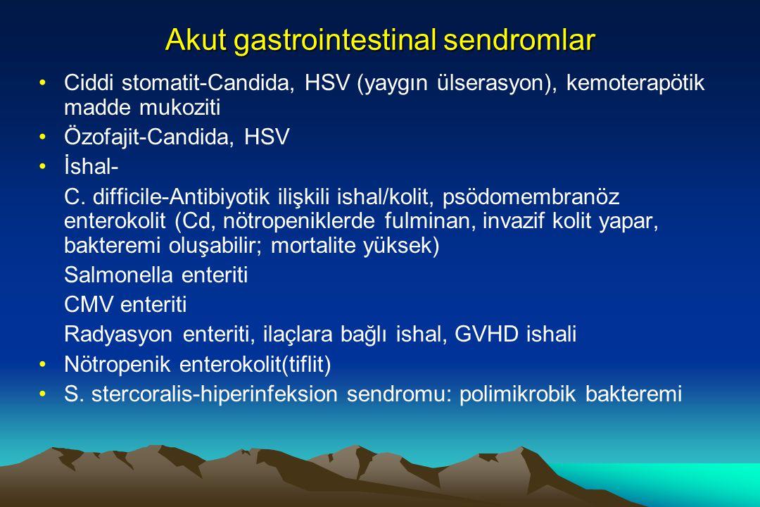 Akut gastrointestinal sendromlar Ciddi stomatit-Candida, HSV (yaygın ülserasyon), kemoterapötik madde mukoziti Özofajit-Candida, HSV İshal- C. diffici