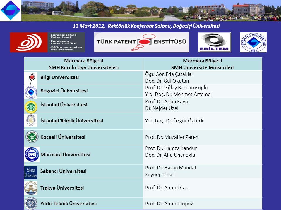 13 Mart 2012, Rektörlük Konferans Salonu, Boğaziçi Üniversitesi Marmara Bölgesi SMH Kurulu Üye Üniversiteleri Marmara Bölgesi SMH Üniversite Temsilcileri Bilgi Üniversitesi Ögr.