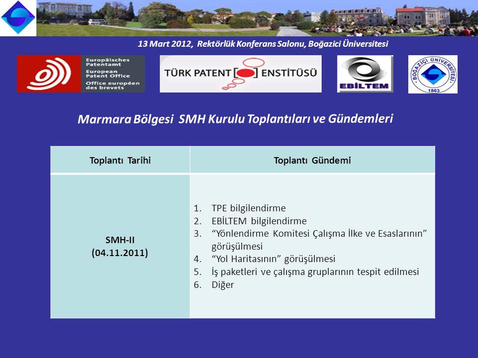 13 Mart 2012, Rektörlük Konferans Salonu, Boğazici Üniversitesi Marmara Bölgesi SMH Kurulu Toplantıları ve Gündemleri Toplantı TarihiToplantı Gündemi SMH-II (04.11.2011) 1.TPE bilgilendirme 2.EBİLTEM bilgilendirme 3. Yönlendirme Komitesi Çalışma İlke ve Esaslarının görüşülmesi 4. Yol Haritasının görüşülmesi 5.İş paketleri ve çalışma gruplarının tespit edilmesi 6.Diğer