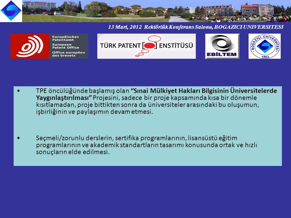 13 Mart, 2012 Rektörlük Konferans Salonu, BOGAZICI UNIVERSITESI TPE öncülüğünde başlamış olan Sınai Mülkiyet Hakları Bilgisinin Üniversitelerde Yaygınlaştırılması Projesini, sadece bir proje kapsamında kısa bir dönemle kısıtlamadan, proje bittikten sonra da üniversiteler arasındaki bu oluşumun, işbirliğinin ve paylaşımın devam etmesi.
