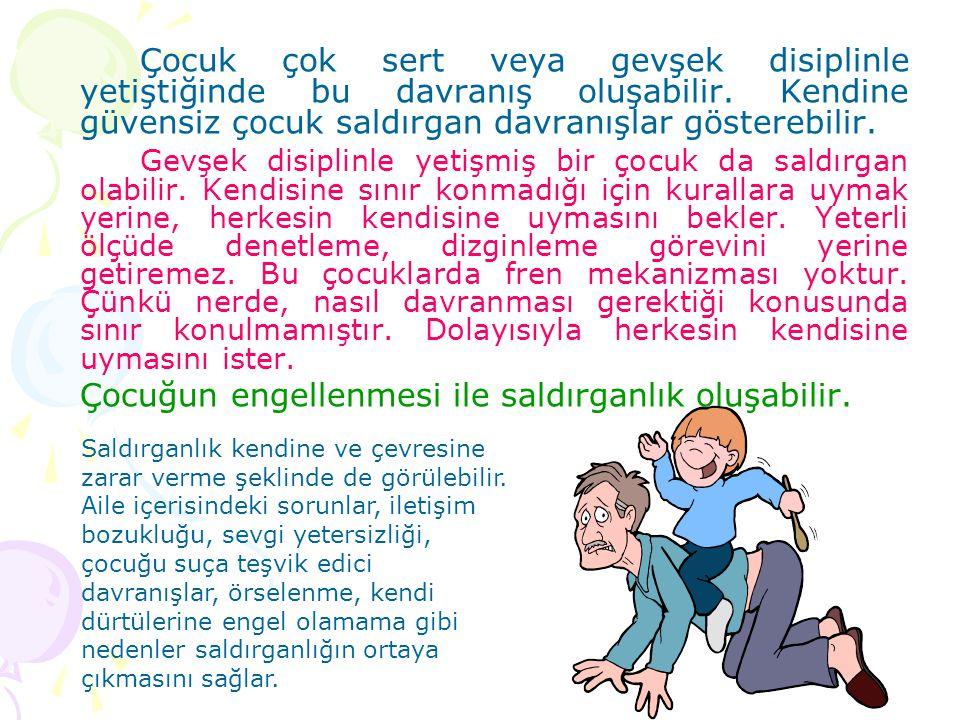 Çocuk çok sert veya gevşek disiplinle yetiştiğinde bu davranış oluşabilir. Kendine güvensiz çocuk saldırgan davranışlar gösterebilir. Gevşek disiplinl