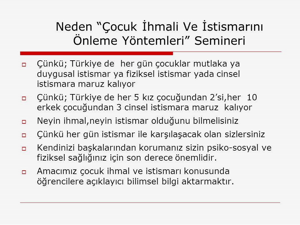 Neden Çocuk İhmali Ve İstismarını Önleme Yöntemleri Semineri  Çünkü; Türkiye de her gün çocuklar mutlaka ya duygusal istismar ya fiziksel istismar yada cinsel istismara maruz kalıyor  Çünkü; Türkiye de her 5 kız çocuğundan 2'si,her 10 erkek çocuğundan 3 cinsel istismara maruz kalıyor  Neyin ihmal,neyin istismar olduğunu bilmelisiniz  Çünkü her gün istismar ile karşılaşacak olan sizlersiniz  Kendinizi başkalarından korumanız sizin psiko-sosyal ve fiziksel sağlığınız için son derece önemlidir.