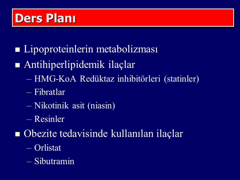 Ders Planı Lipoproteinlerin metabolizması Antihiperlipidemik ilaçlar –HMG-KoA Redüktaz inhibitörleri (statinler) –Fibratlar –Nikotinik asit (niasin) –Resinler Obezite tedavisinde kullanılan ilaçlar –Orlistat –Sibutramin