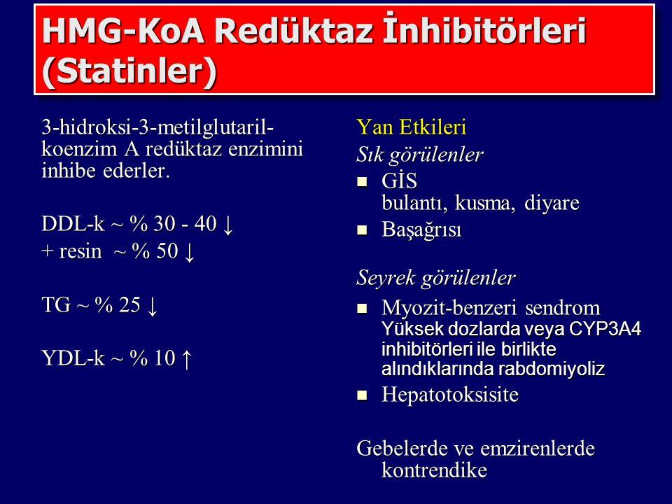 HMG-KoA Redüktaz İnhibitörleri (Statinler) 3-hidroksi-3-metilglutaril- koenzim A redüktaz enzimini inhibe ederler. DDL-k ~ % 30 - 40 ↓ + resin ~ % 50