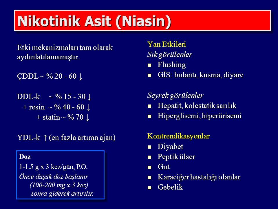 Nikotinik Asit (Niasin) Etki mekanizmaları tam olarak aydınlatılamamıştır. ÇDDL ~ % 20 - 60 ↓ DDL-k ~ % 15 - 30 ↓ + resin ~ % 40 - 60 ↓ + resin ~ % 40