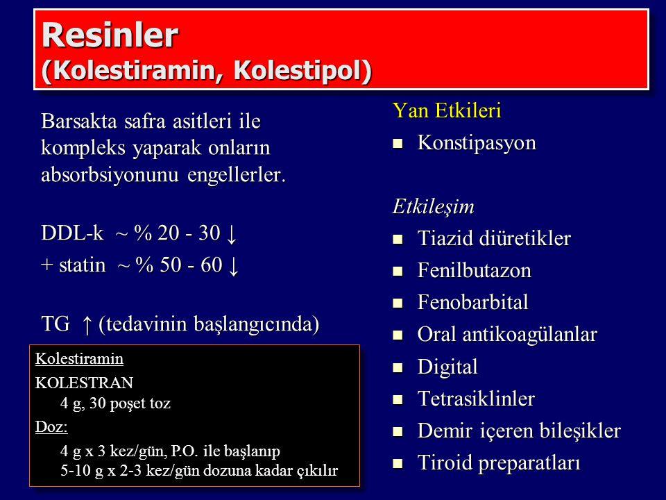 Resinler (Kolestiramin, Kolestipol) Barsakta safra asitleri ile kompleks yaparak onların absorbsiyonunu engellerler. DDL-k ~ % 20 - 30 ↓ + statin ~ %