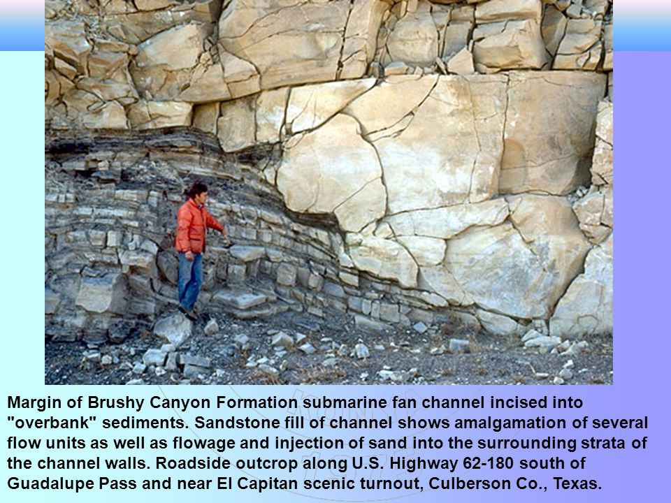 Margin of Brushy Canyon Formation submarine fan channel incised into