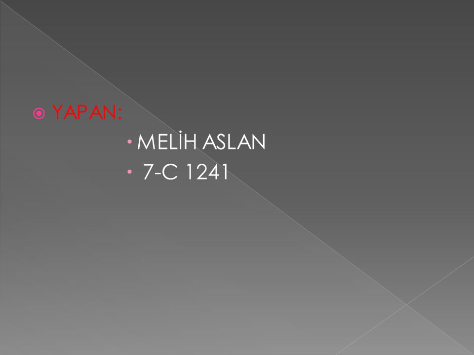  YAPAN:  MELİH ASLAN  7-C 1241