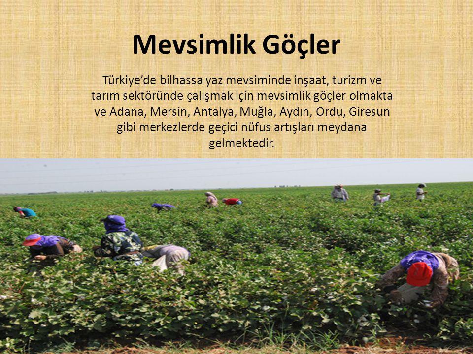Mevsimlik Göçler Türkiye'de bilhassa yaz mevsiminde inşaat, turizm ve tarım sektöründe çalışmak için mevsimlik göçler olmakta ve Adana, Mersin, Antaly