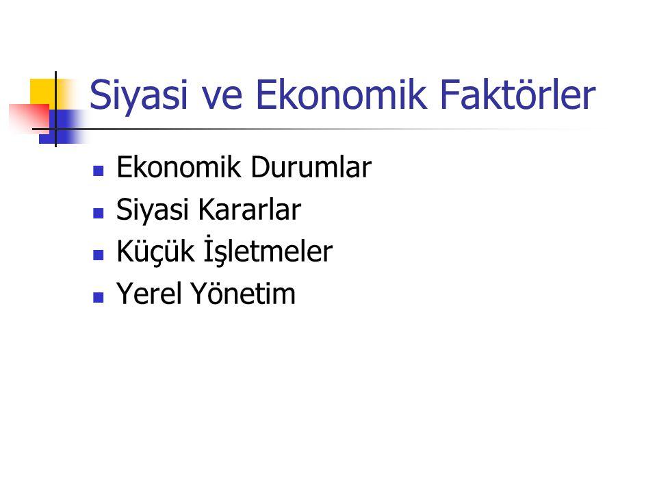 Siyasi ve Ekonomik Faktörler Ekonomik Durumlar Siyasi Kararlar Küçük İşletmeler Yerel Yönetim