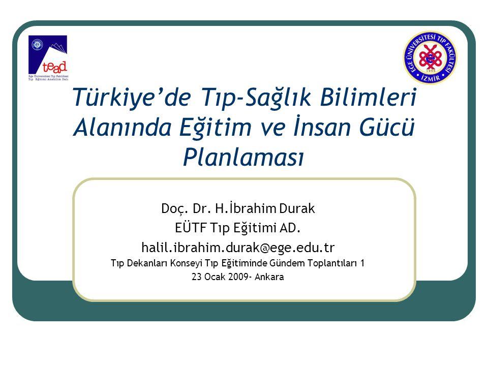 Türkiye'de Tıp-Sağlık Bilimleri Alanında Eğitim ve İnsan Gücü Planlaması Doç. Dr. H.İbrahim Durak EÜTF Tıp Eğitimi AD. halil.ibrahim.durak@ege.edu.tr