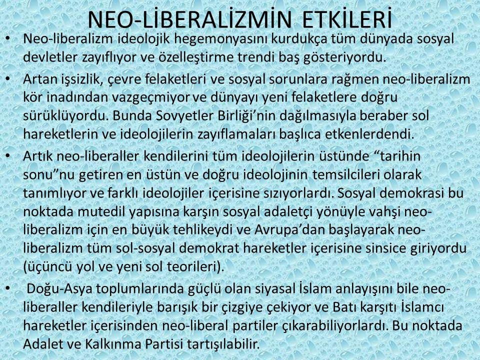 NEO-LİBERALİZMİN ETKİLERİ Neo-liberalizm ideolojik hegemonyasını kurdukça tüm dünyada sosyal devletler zayıflıyor ve özelleştirme trendi baş gösteriyordu.