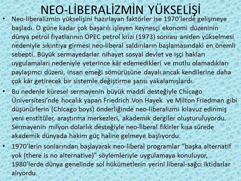 NEO-LİBERALİZMİN YÜKSELİŞİ Neo-liberalizmin yükselişini hazırlayan faktörler ise 1970'lerde gelişmeye başladı. O güne kadar çok başarılı işleyen Keyne
