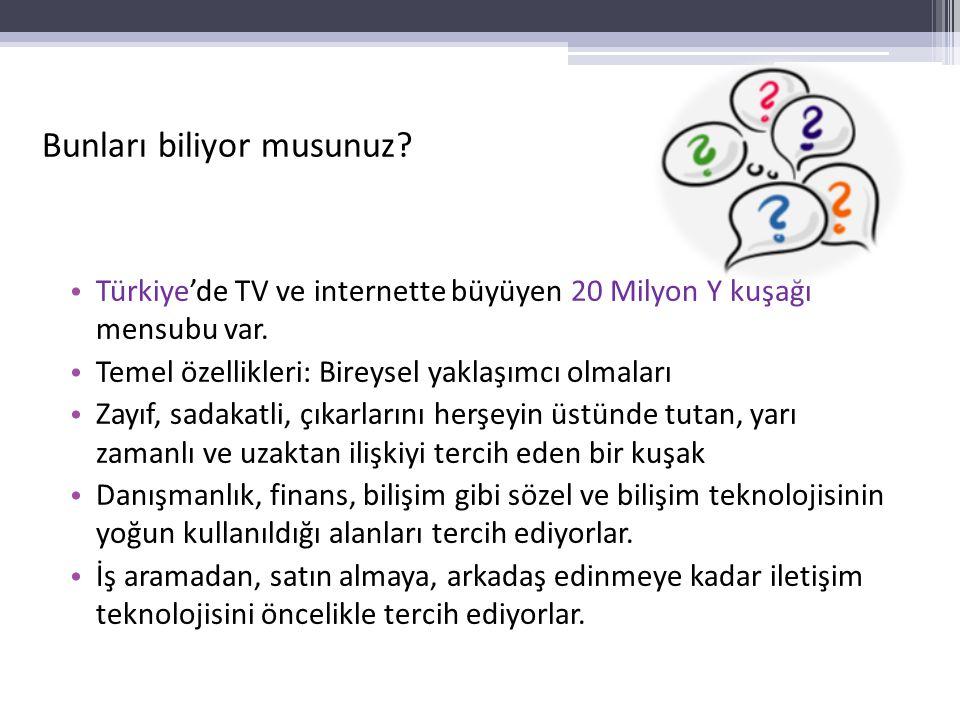 Bunları biliyor musunuz? Türkiye'de TV ve internette büyüyen 20 Milyon Y kuşağı mensubu var. Temel özellikleri: Bireysel yaklaşımcı olmaları Zayıf, sa
