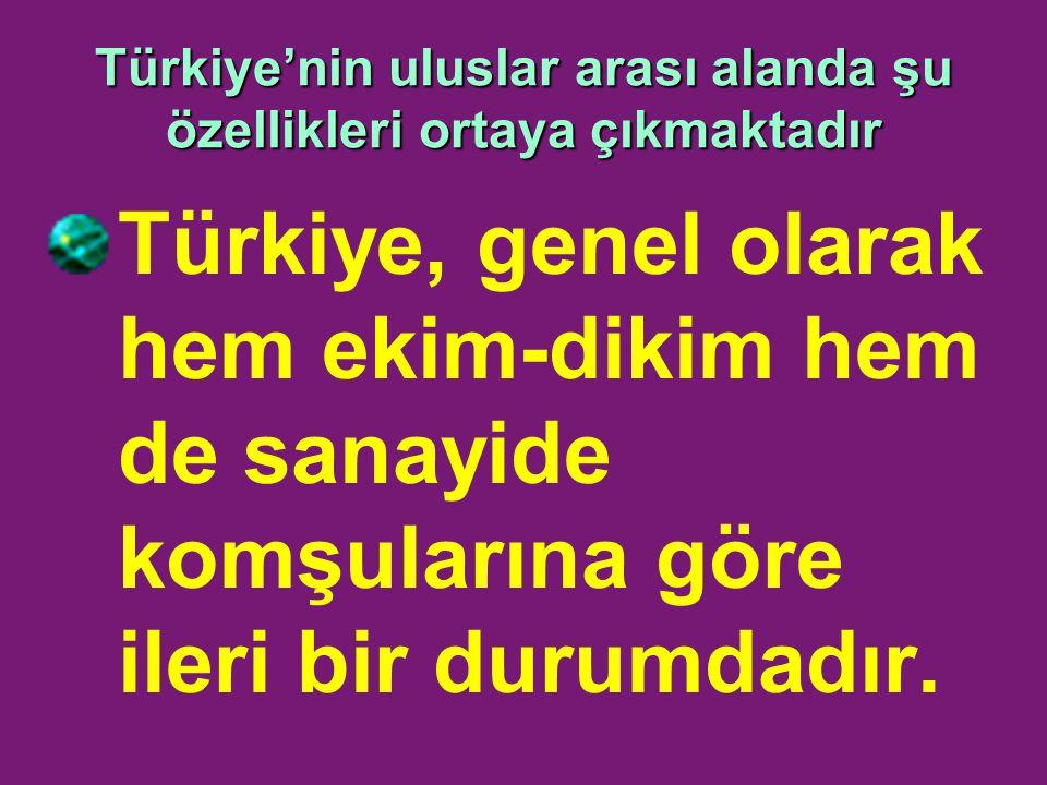 Türkiye'nin uluslar arası alanda şu özellikleri ortaya çıkmaktadır Türkiye, genel olarak hem ekim-dikim hem de sanayide komşularına göre ileri bir durumdadır.