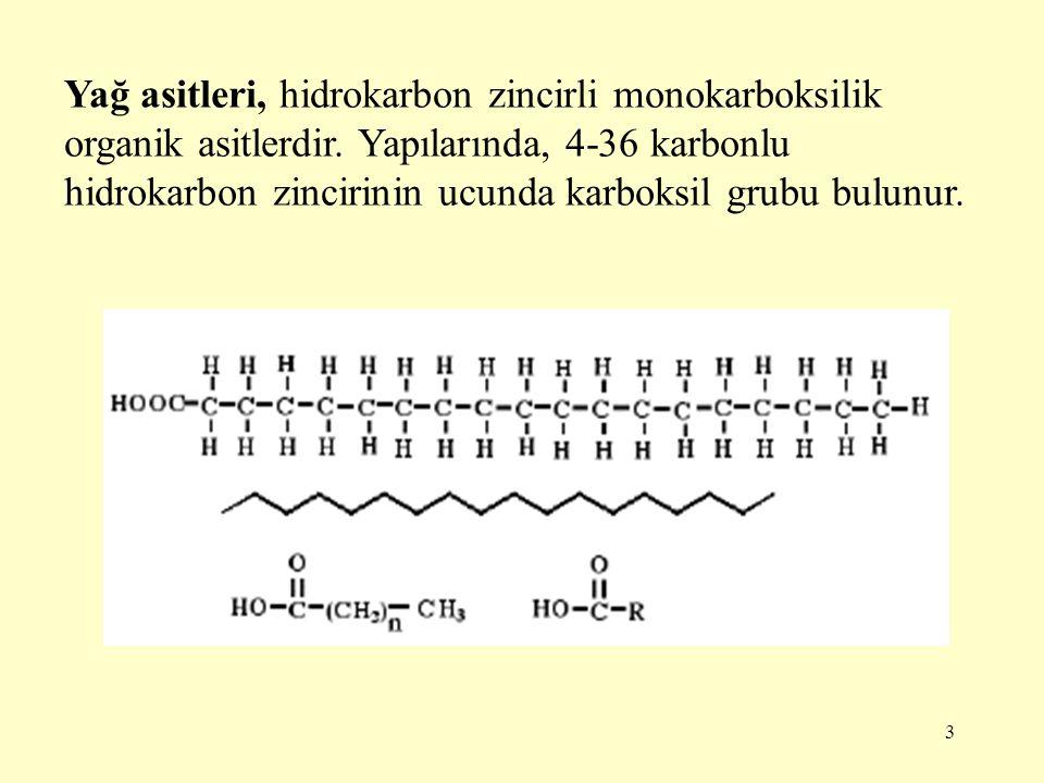 3 Yağ asitleri, hidrokarbon zincirli monokarboksilik organik asitlerdir. Yapılarında, 4-36 karbonlu hidrokarbon zincirinin ucunda karboksil grubu bulu