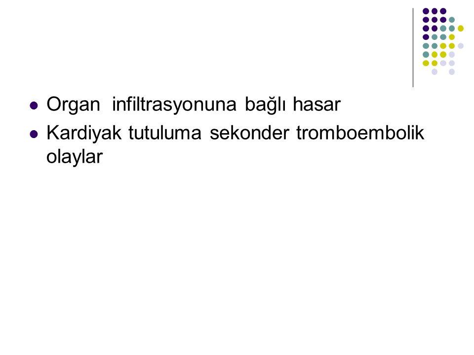 Organ infiltrasyonuna bağlı hasar Kardiyak tutuluma sekonder tromboembolik olaylar
