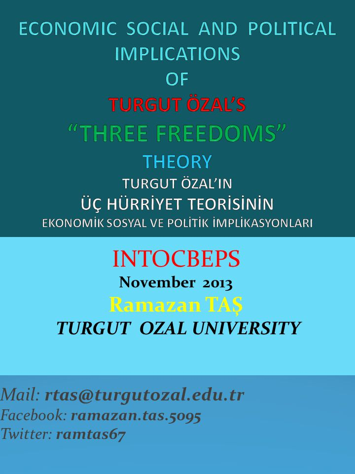 INTOCBEPS November 2013 Ramazan TAŞ TURGUT OZAL UNIVERSITY Mail: rtas@turgutozal.edu.tr Facebook: ramazan.tas.5095 Twitter: ramtas67