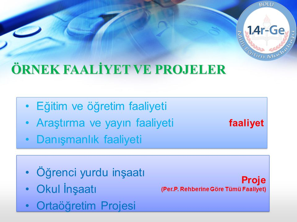 Proje (Per.P. Rehberine Göre Tümü Faaliyet) Proje (Per.P. Rehberine Göre Tümü Faaliyet) faaliyet Eğitim ve öğretim faaliyeti Araştırma ve yayın faaliy