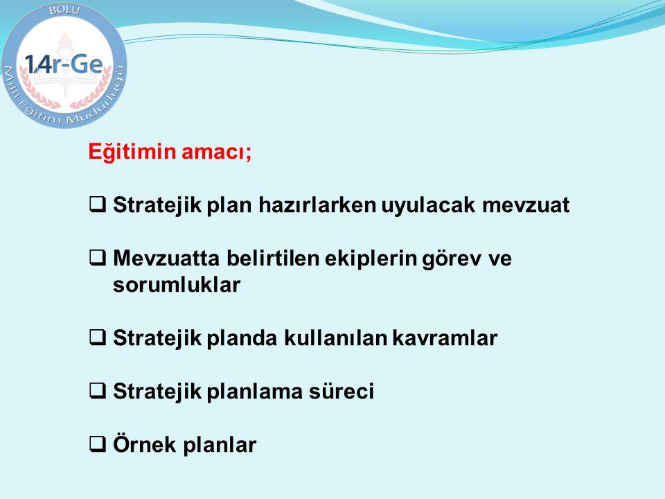 Eğitimin amacı;  Stratejik plan hazırlarken uyulacak mevzuat  Mevzuatta belirtilen ekiplerin görev ve sorumluklar  Stratejik planda kullanılan kavr