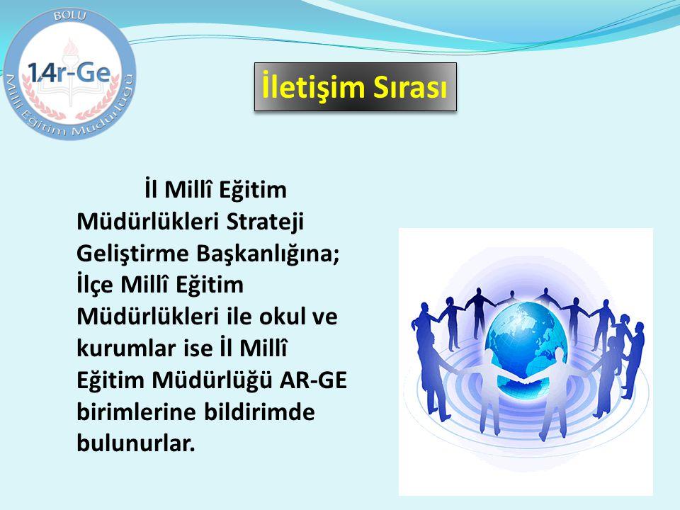 İl Millî Eğitim Müdürlükleri Strateji Geliştirme Başkanlığına; İlçe Millî Eğitim Müdürlükleri ile okul ve kurumlar ise İl Millî Eğitim Müdürlüğü AR-GE