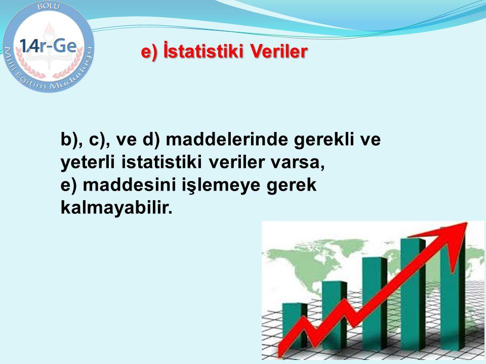 e) İstatistiki Veriler b), c), ve d) maddelerinde gerekli ve yeterli istatistiki veriler varsa, e) maddesini işlemeye gerek kalmayabilir.