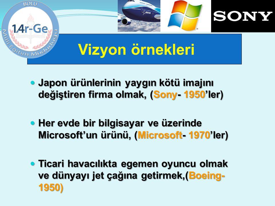 Vizyon örnekleri Japon ürünlerinin yaygın kötü imajını değiştiren firma olmak, (Sony- 1950'ler) Japon ürünlerinin yaygın kötü imajını değiştiren firma